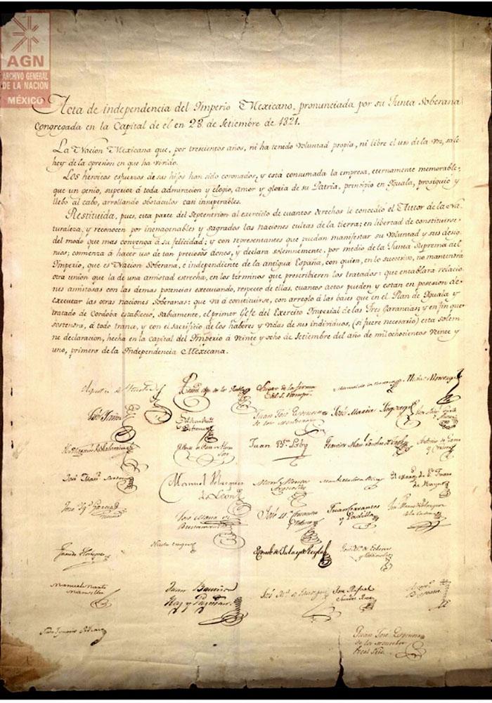 Acta De La Independencia De México Cuyo Original Se