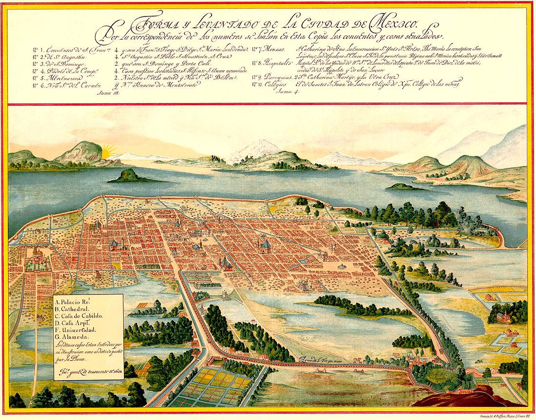 Maps 2015 (14) The city of Mexico in 1628   metrhispanic