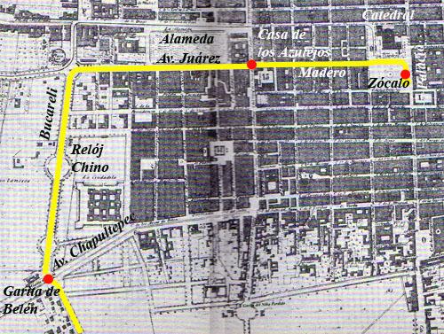 Trayecto del Ejército Triogarante con rumbo al Zócalo en 1821