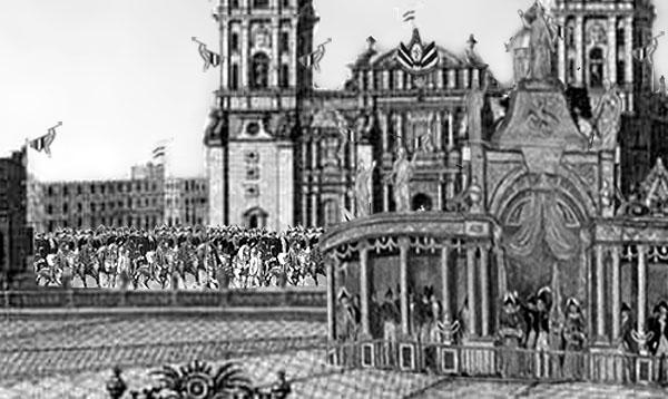 Recración del momento de llegada del Ejército Trigarante al Zócalo en 1821